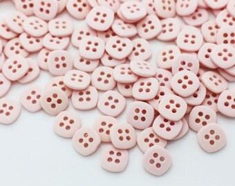 10 Pink Square Button, Children Button, Blouse Button, Four Holes Button, Pastel Pink Button, Baby Button, Mini Button, Tiny Button, 9mm