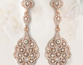 Rose Gold Clear Rhinestone Chandelier Bridal Wedding Earrings