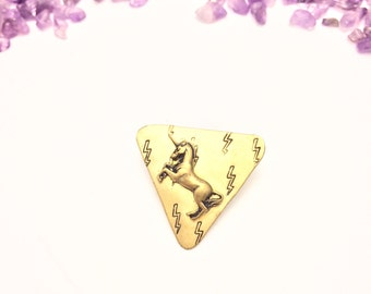 unicorn lightning bolt triangle pin (hand-stamped brass)