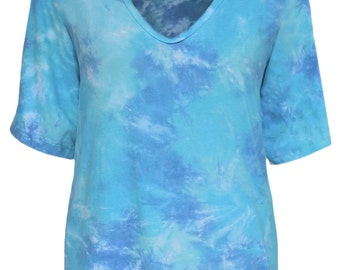 Oversized Top, Woman Tunic Top XL 1X 2X, Womens Plus Size Tie Dye Clothing, Plus Size Boho Clothes for Full Figures, Cotton Tunic Top XL-2X