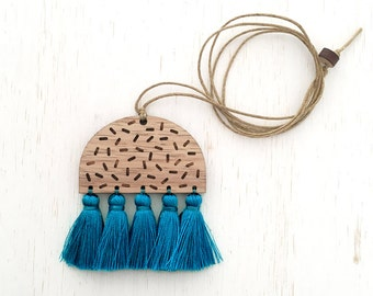 Amelia - Geometric Confetti Wood Necklace with silk tassels - Blue Teal - laser cut