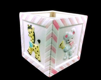 Square Ceramic Nursery Planter Vintage Baby Decor Elephant Lamb Teddy Bear Giraffe