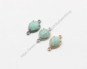 12mm Tiny Faceted Amazonite Connectors -- With Electroplated Gold Edge Charms Wholesale Supplies YHA-294-15
