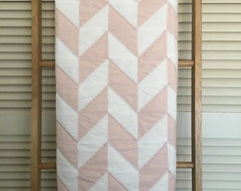 Baby Quilt, Pink and White Herringbone Pattern