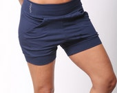 Slouchy Yoga Shorts in navy blue