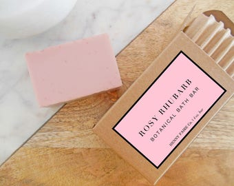 rosy rhubarb soap   rhubarb & rose natural soap with pink peppercorn and ruby red grapefruit   4 oz botanical bath bar