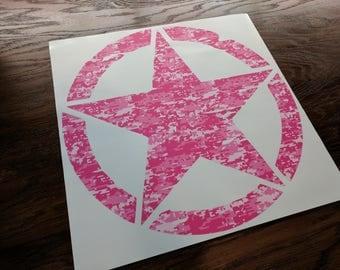"Jeep Wrangler 20"" Oscar Mike Hood Army Pink Camo Print Star Decal Magenta Camouflage"