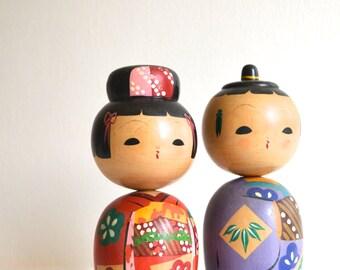 Pair of Mid Century Japanese Wood Kokeshi Nodder Dolls