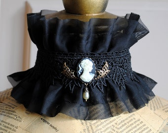 Victorian Ruffle Collar with Cameo, Black Gothic Lace Collar, Gothic Accessories-Ready to Ship