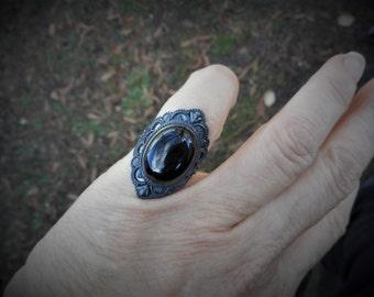 Black ring, black onyx ring,womens black ring,size 5 1/2 to 5 3/4 ring, gothic rings, black onyx rings,oxidized ring, oval ring,goth ring