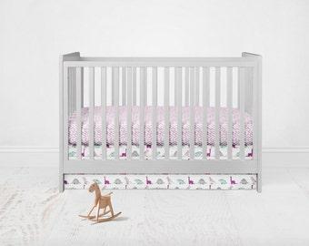 Dinosaur Crib Bedding Set. Toddler Sheet. Baby Bedding. 2 Piece Set - Fitted Crib Sheet, Crib Skirt. Pink, Purple, White, Aqua Bedding Set.