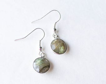 Silver Labradorite Earrings / dainty earrings / Round Labradorite Earrings / labradorite gift for her