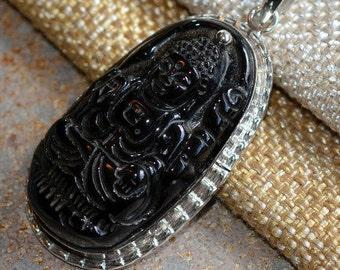 Carved Onyx Quan Yin Pendant,Kuan Yin,Sterling Silver,Black Onyx,Goddess of Compassion,Female Buddha,Tara,Chinese Goddess,One,KP14-15430