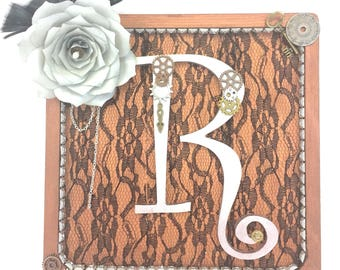 Steampunk art - Steampunk wall decor - Bronze and silver wall decor - Cogs and chains wall art - Victorian steampunk lace art