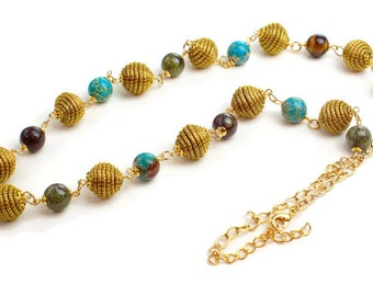 Long Beaded Necklace, Beads of Golden Grass, Blue magnesite, Dragon blood jasper, Fall jewelry