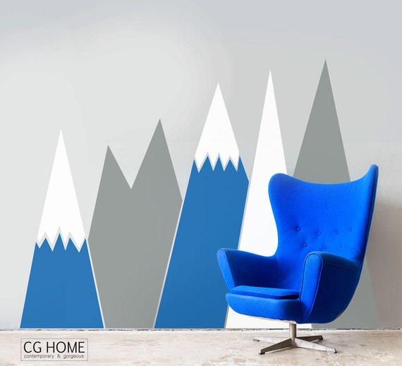 headboard MOUNTAIN view Snow mountain for kids big wall washable decal CGhome