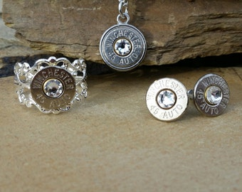 Bullet Jewelry Set- Handmade.  Includes Earrings, Necklace and Ring.