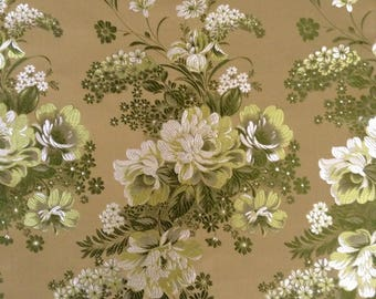 Green, White and Gold Chinese Silk Brocade, Peony Motif Silk Satin Tapestry, 1+ Yards of Peony Motif Embroidered on Satin Fabric