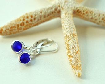 Cobalt blue sea glass earrings lever back earrings leverback sterling silver earrings sea glass jewelry blue earrings wire wrapped earrings