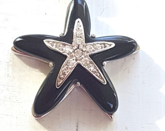 Black Onyx Silver and Cz  Dancing Starfish Necklace Sterling Silver - Silver Sea Star necklace- Bridesmaid - Bridal Party- Beach Jewelry