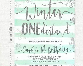winter ONEderland invitation boy or girl, winter ONEderland birthday invitation, mint silver snowflake first birthday invitation, printable