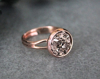 Rose Gold Ring, Rose Gold Druzy Ring, Druzy Ring, Adjustable Ring, Rose Gold Adjustable Ring, Ring for Her, Women's Ring, Gift for Her