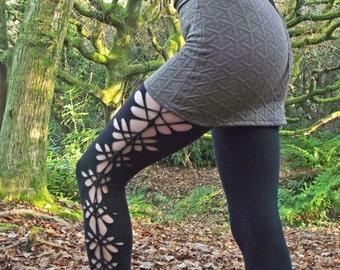 Woodland Rose Cotton Woven Leggings with Honeycomb Studs, psy, yoga, festival clothing, burning man, dance, goa, boom festival, psytrance