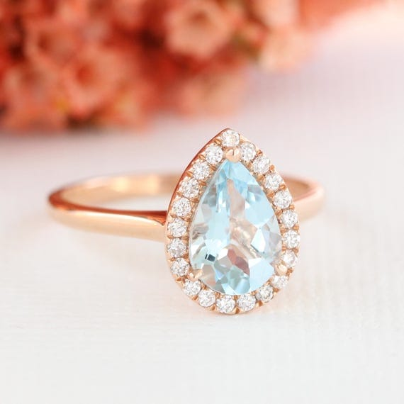Pear Aquamarine Engagement Ring in 14k Rose Gold Halo Diamond