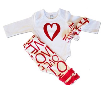 Baby Valentines Day Outfit - LOVE - Valentines Day - 3 Piece