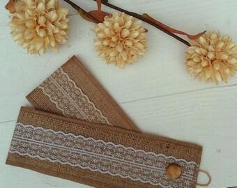 Burlap Tie Backs - Curtain Tie Backs with Lace - Burlap Drape Tie Backs - Rustic Home Decor - Hessian Tie Backs - Set of 2