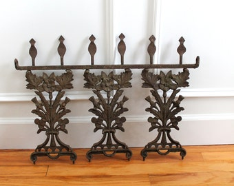 Antique Victorian Ornate Iron Fence Gate Panel Architectural Salvage