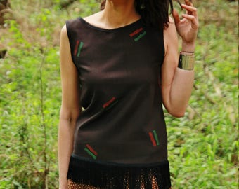BOHO GIPSY TOP, dark brown, red, green, simply pattern and fringes, boho bohemian, boho chic style