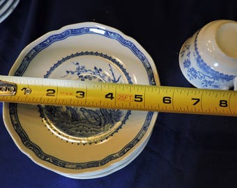 Furnivals Blue Quail China Saucers Scalloped Top Rim Round Backstamp 1913c Sold in Pairs Only