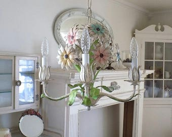 Antique Italian Tole Chandelier w/ Pink Blue & Yellow Flowers ~ Vintage Shabby Cottage Chic ~ Primitive Lighting ~ Indoors or Outdoors