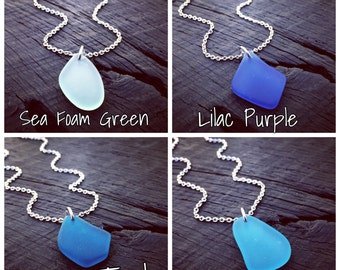 Sea Glass Charm Pendant Necklace - Pick Your Color | Sea Glass Jewelry | Sea Glass Lover Gift | Beach Lover Gift | Nautical Jewelry Gift
