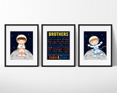 Brothers Wall Art, Sibling Gifts, Big Brother Little Brother,Astronaut Print,  Outer Space Decor
