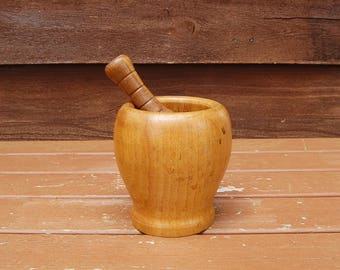 Turned Wood Mortar and Pestle, Vintage Mortar and Pestle, Blending Mortar, Herb Mortar and Pestle