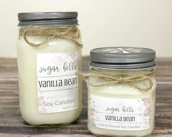 Hand Poured Soy Candles  - Mason Jar Candles - Scented Candles - Vanilla Candles - Home Fragrance - White Soy Candles - Vanilla Bean Candle