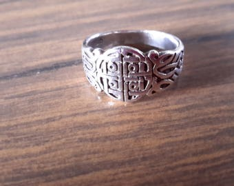 """Vintage ~ Chinese Symbol Ring ~ Chinese Temple Symbol Ring ~ 925 Silver Asian Symbol Ring  ~ Oriental Symbol Ring ~ 1/2"""" Wide ~ Size 7"""