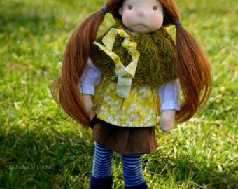 KATHARINA, 12 inch, ooak, natural fiber art, rag, waldorf doll, child friendly