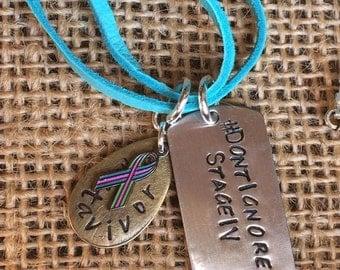 Metavivor Stage IV Awareness necklace - Don'tIgnoreStageIV - Metavivor- Metastatic Cancer