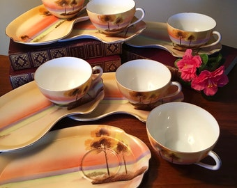 Stunning 12-piece Meito China snack or dessert plates with tea cups hand painted in Japan