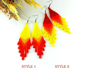 Statement Jewelry Yellow red earrings Yellow earrings Summer earrings Bead earrings Novelty earrings Fringe earrings Gypsy earrings Bright