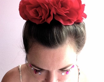 Big red rose bun wrap, flower bun crown, bohemian bun holder, floral hair accessory perfect for music festivals!
