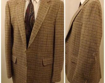 80s Vintage Halston Gold Tattersall Men's Sport Coat Size 38L
