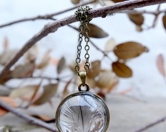 Feather necklace, glass orb pendant, boho necklace, woodland necklace, little real feather,one a kind jewelry, nature necklace,glass pendant