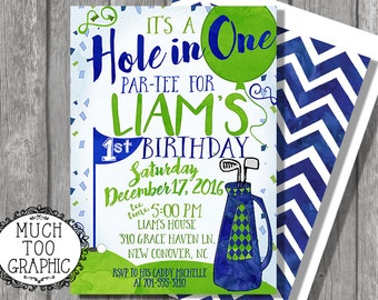 Birthday Invitation | Hole In One Invitation | Golf Invitation | 1st Birthday / First Birthday| Boys Birthday Invitation/ Blue and Green