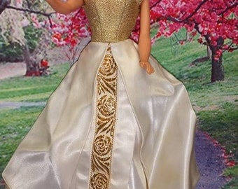 Satin & Brocade Evening Gown for Barbie, Clone Fashion Gown