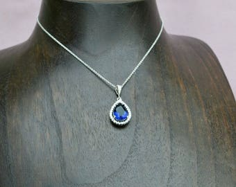Navy blue crystal necklace, sapphire drop necklace, blue bridesmaid necklace,  blue drop necklace