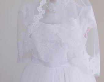 First Communion Dress, Tulle Girls Dresses, Communion Lace Dress, Lace Top Flower Girl Dress, Floor Length Flower Girl Dress, Handmade